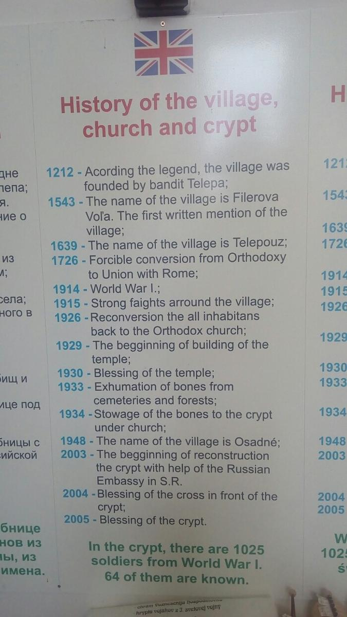 Photo of History of the village Osadne, church and crypt